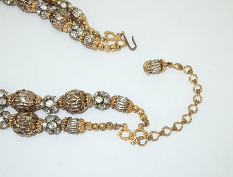 1950's Multi Strand Rhinestone Fluted Bead Choker Necklace For Sale 4