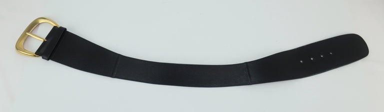 Be a fashionable superhero with this statement making belt designed by Robert Lee Morris for Donna Karan. The collaboration between Karan & Morris was a perfect combination of her fluid silhouettes accessorized with his organically sculptural forms.