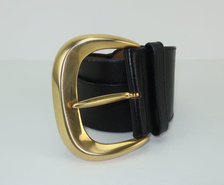 Robert Lee Morris for Donna Karan Gold Buckle Black Leather Belt For Sale 1