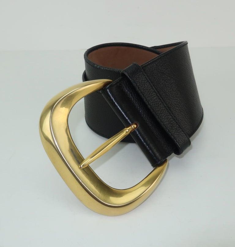 Robert Lee Morris for Donna Karan Gold Buckle Black Leather Belt For Sale 2