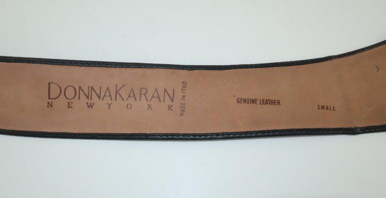 Robert Lee Morris for Donna Karan Gold Buckle Black Leather Belt For Sale 3