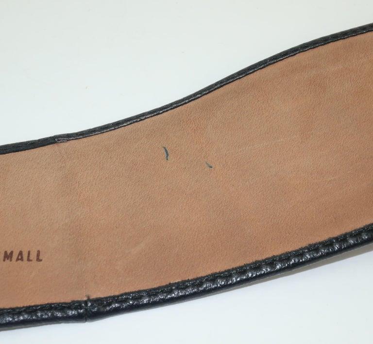 Robert Lee Morris for Donna Karan Gold Buckle Black Leather Belt For Sale 4
