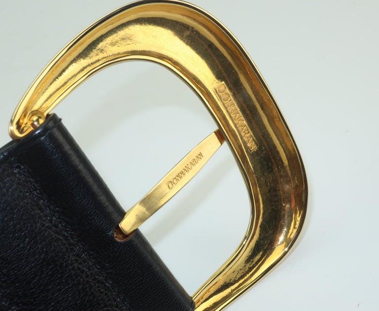 Robert Lee Morris for Donna Karan Gold Buckle Black Leather Belt For Sale 6