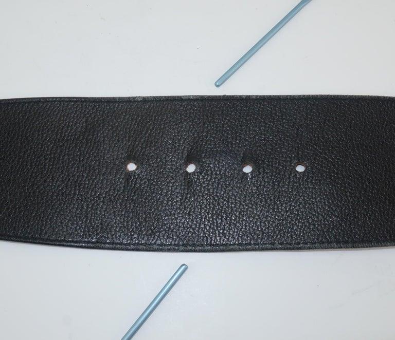 Robert Lee Morris for Donna Karan Gold Buckle Black Leather Belt For Sale 5