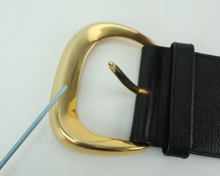 Robert Lee Morris for Donna Karan Gold Buckle Black Leather Belt For Sale 7