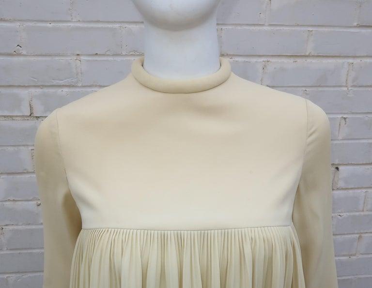 1960's Pierre Cardin Micro Pleated Silk Trapeze Dress In Fair Condition For Sale In Atlanta, GA