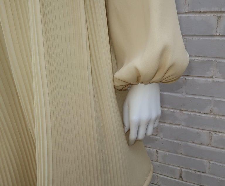 1960's Pierre Cardin Micro Pleated Silk Trapeze Dress For Sale 6