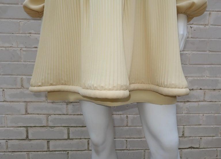 Women's 1960's Pierre Cardin Micro Pleated Silk Trapeze Dress For Sale