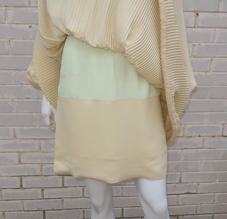 1960's Pierre Cardin Micro Pleated Silk Trapeze Dress For Sale 1