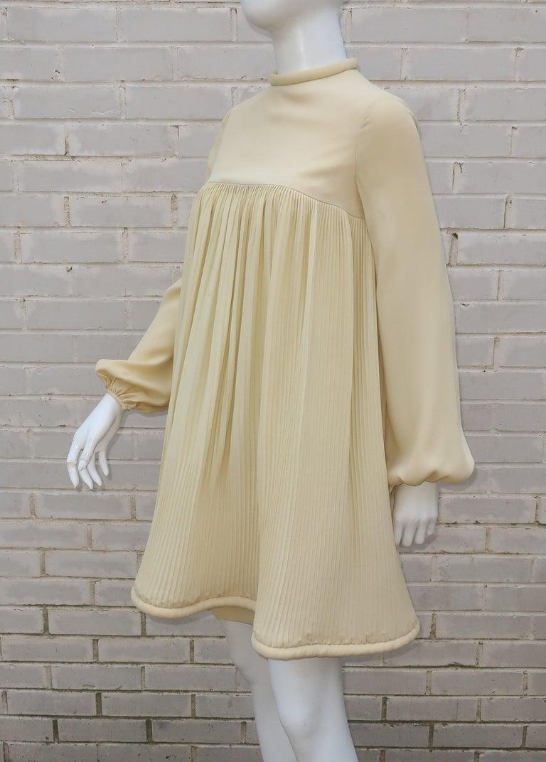 1960's Pierre Cardin Micro Pleated Silk Trapeze Dress For Sale 7