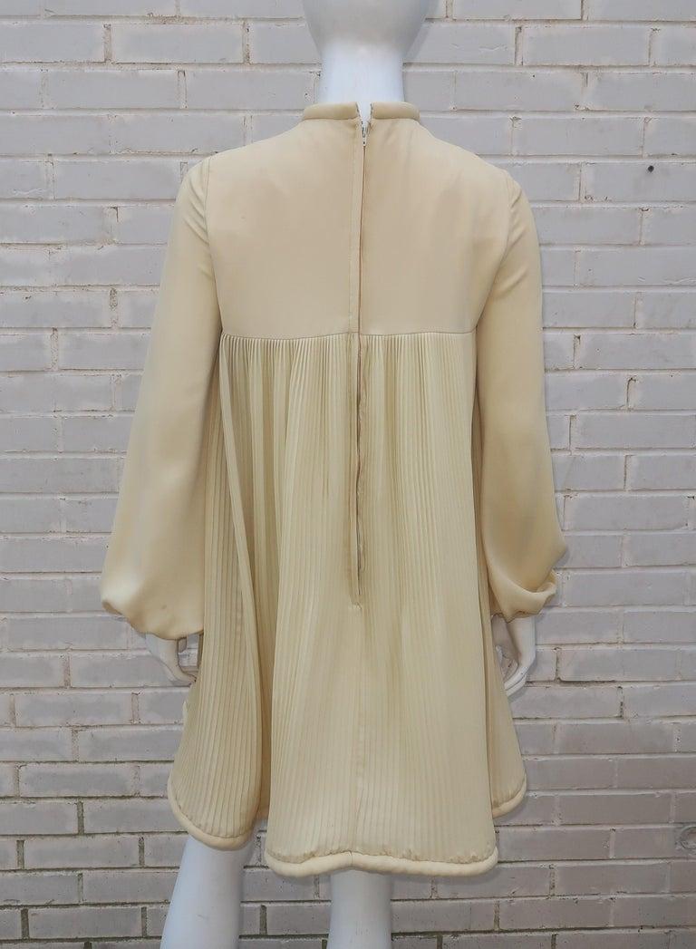 1960's Pierre Cardin Micro Pleated Silk Trapeze Dress For Sale 8