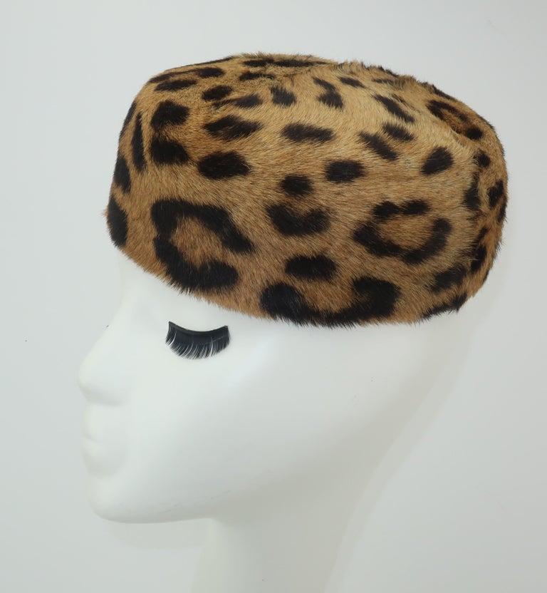 Gray 1950's Leopard Print Fur Pillbox Hat For Sale