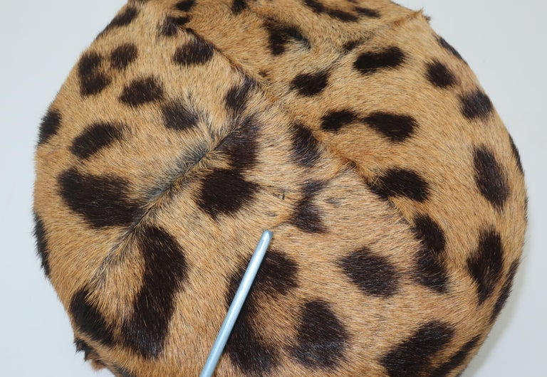 1950's Leopard Print Fur Pillbox Hat For Sale 3