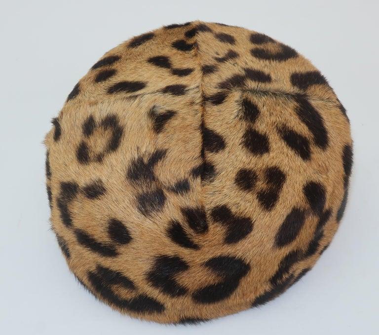 1950's Leopard Print Fur Pillbox Hat For Sale 1
