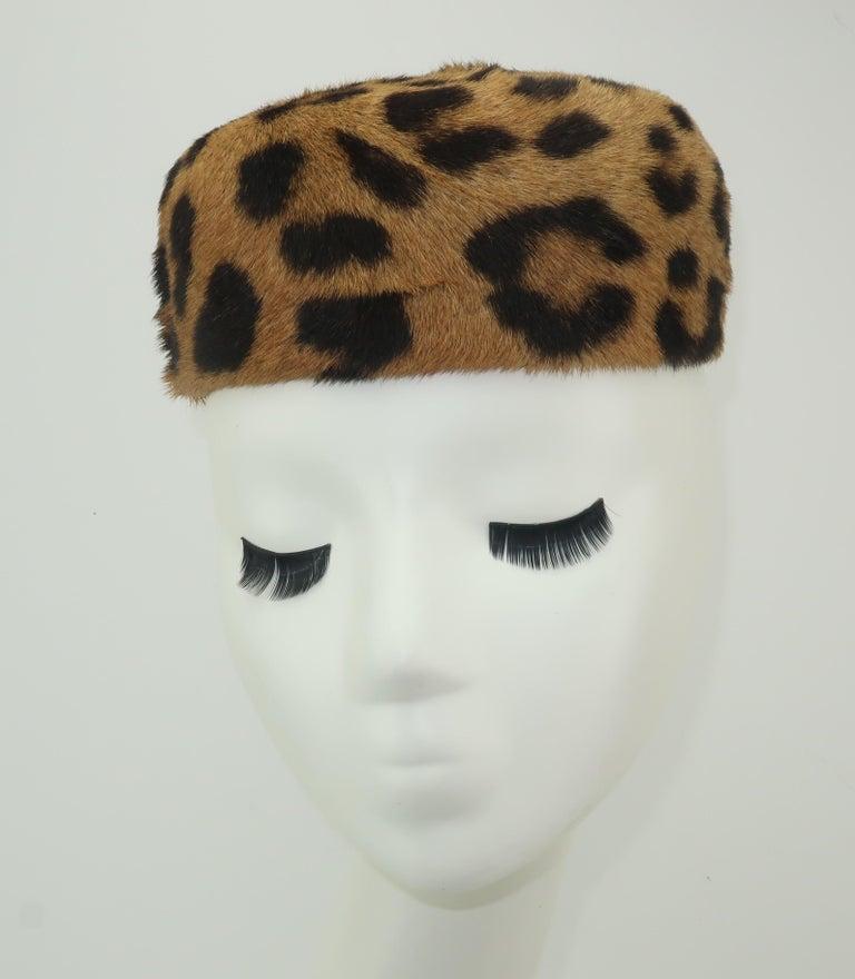 1950's Leopard Print Fur Pillbox Hat In Good Condition For Sale In Atlanta, GA