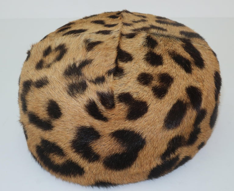 1950's Leopard Print Fur Pillbox Hat For Sale 2