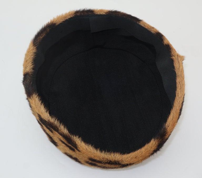1950's Leopard Print Fur Pillbox Hat For Sale 4