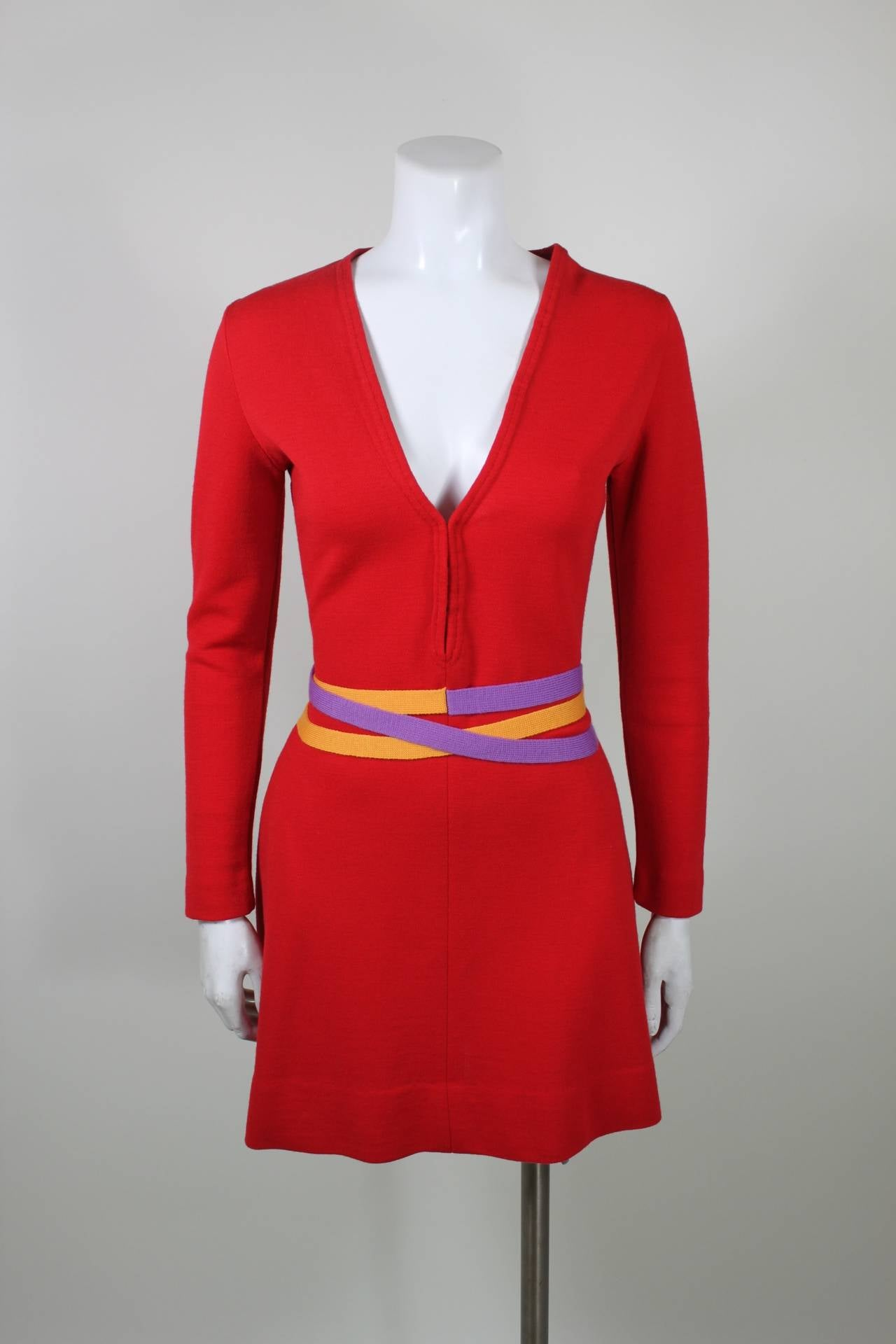 Rudi Gernreich 1960s Vibrant Red Wool Mini Dress with Purple and Yellow Belt 2