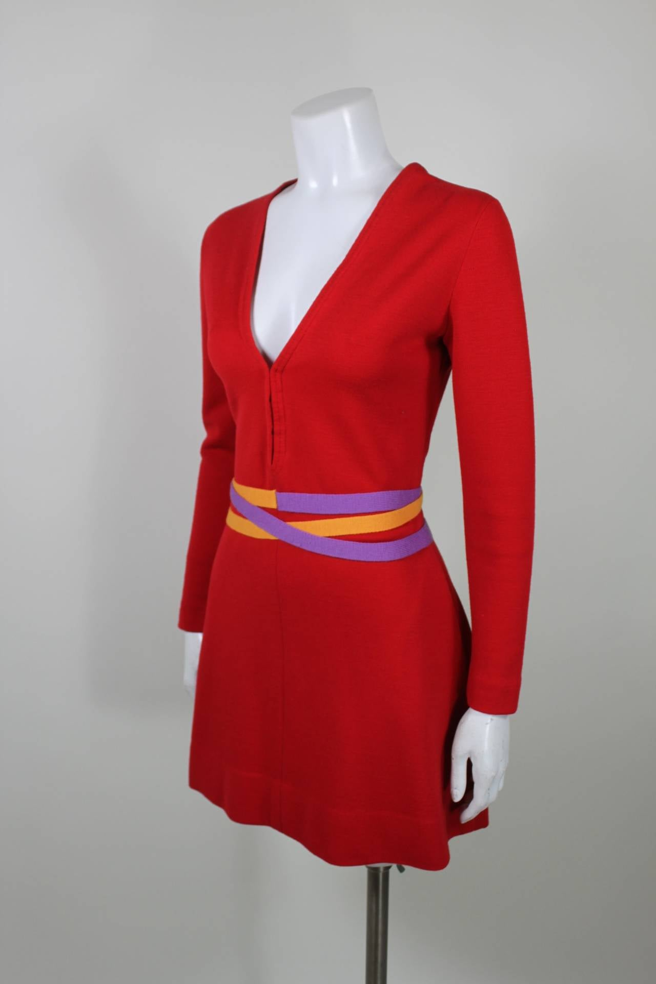 Rudi Gernreich 1960s Vibrant Red Wool Mini Dress with Purple and Yellow Belt 3