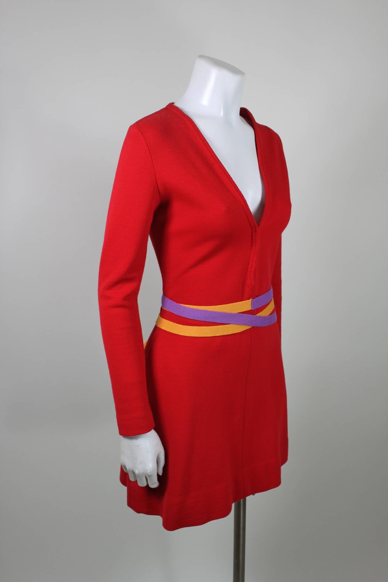 Rudi Gernreich 1960s Vibrant Red Wool Mini Dress with Purple and Yellow Belt 4
