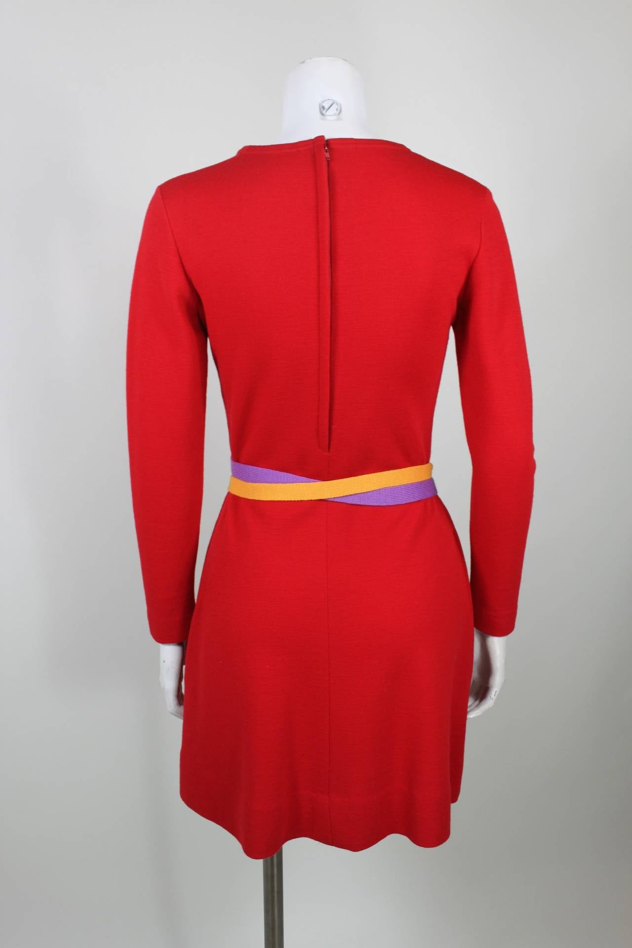 Rudi Gernreich 1960s Vibrant Red Wool Mini Dress with Purple and Yellow Belt 5