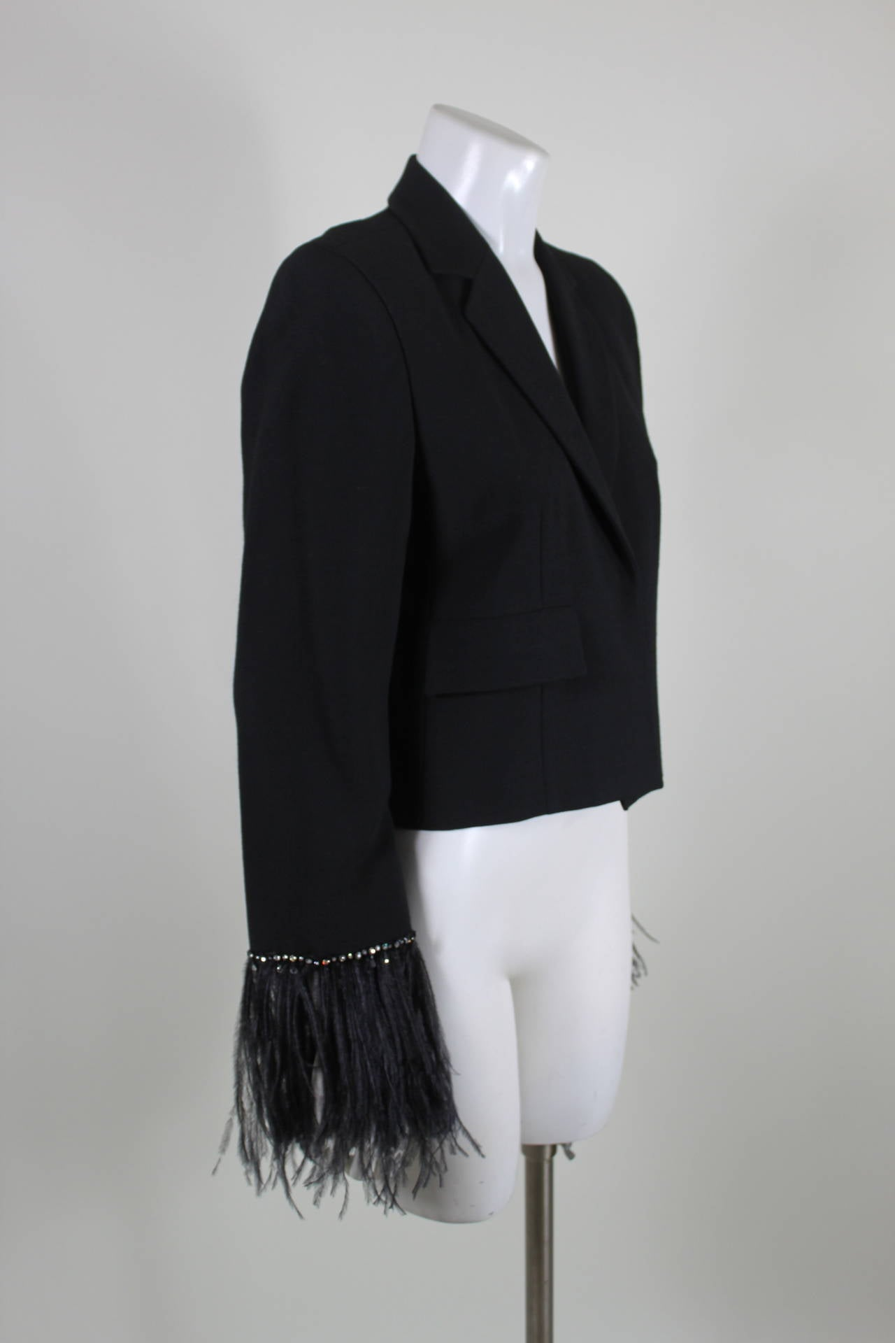 Pierre Cardin 1980s Black Jacket w/ Feather and Rhinestone Sleeves 2