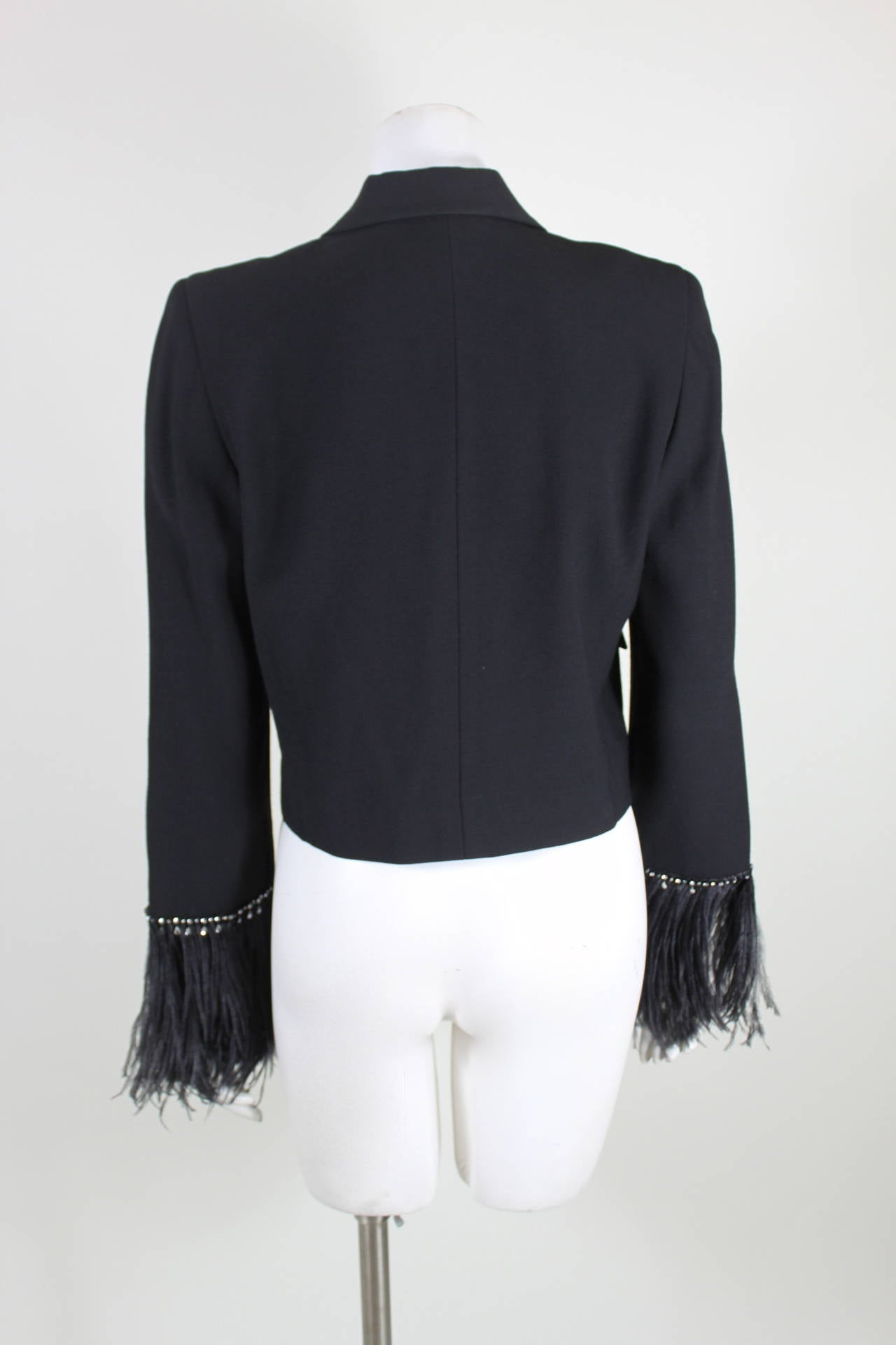 Pierre Cardin 1980s Black Jacket w/ Feather and Rhinestone Sleeves 7