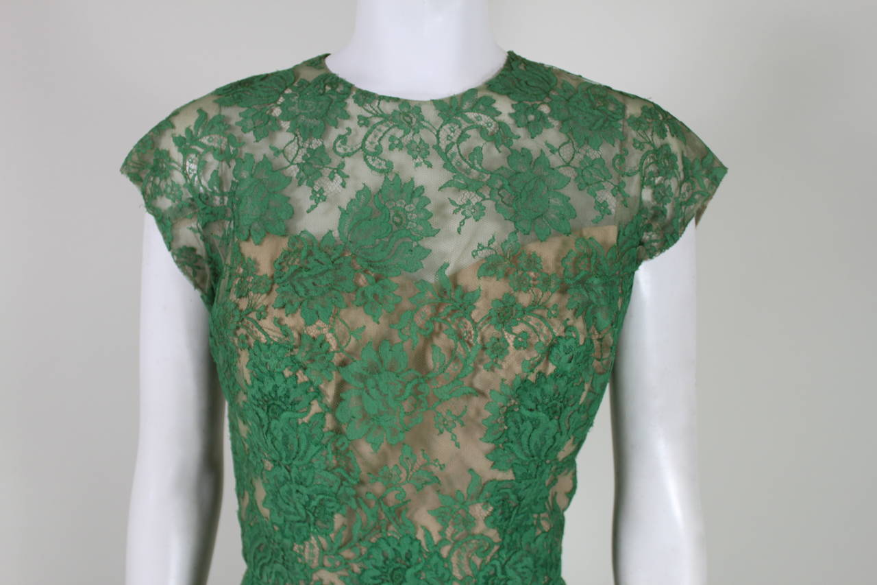 Peggy Hunt 1950s Green Lace Illusion Dress 2