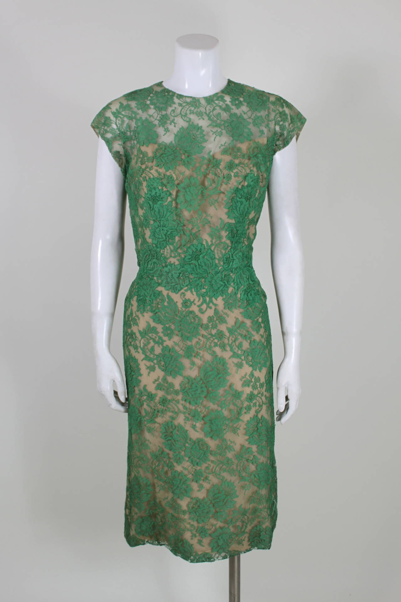 Peggy Hunt 1950s Green Lace Illusion Dress 3