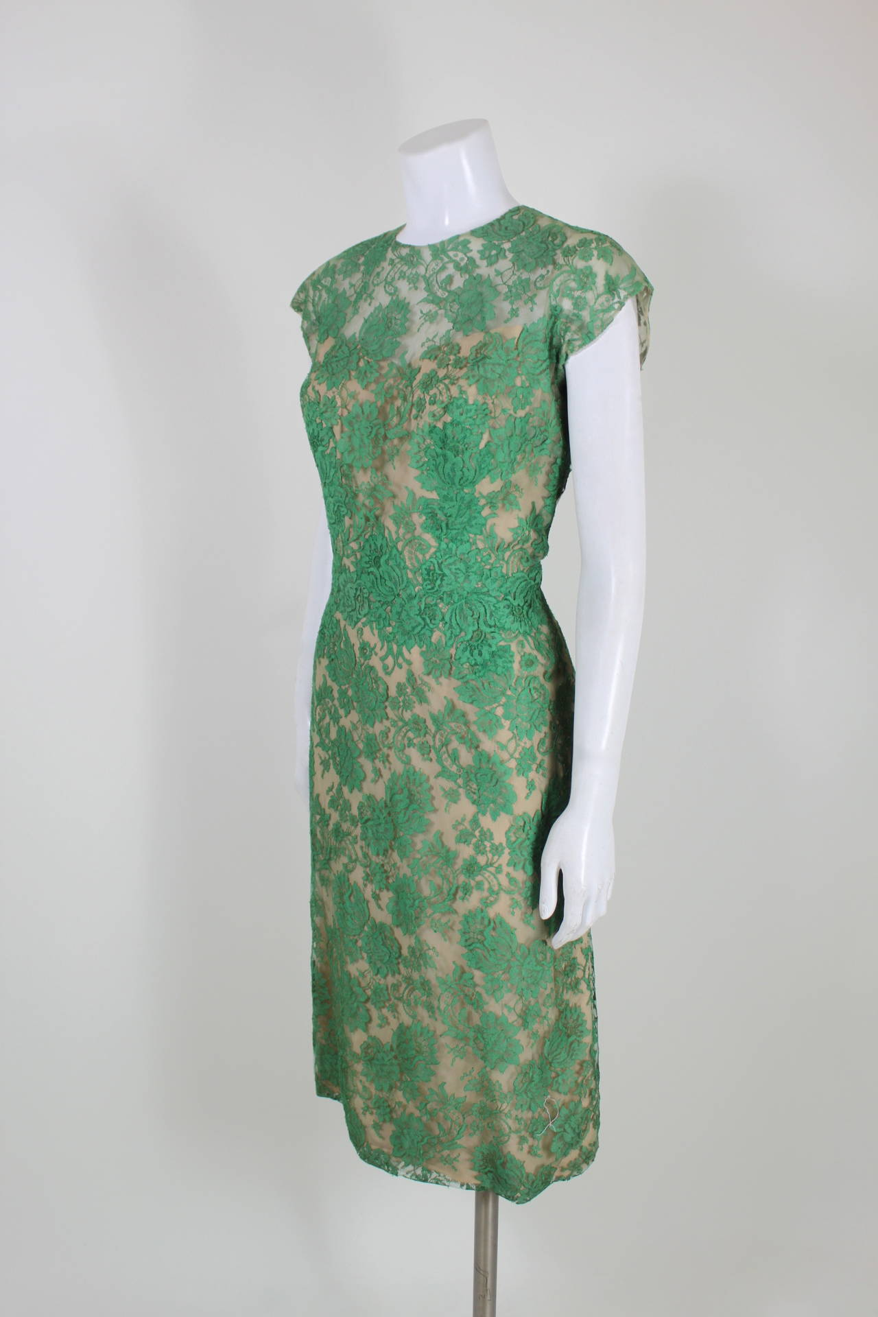 Peggy Hunt 1950s Green Lace Illusion Dress 4