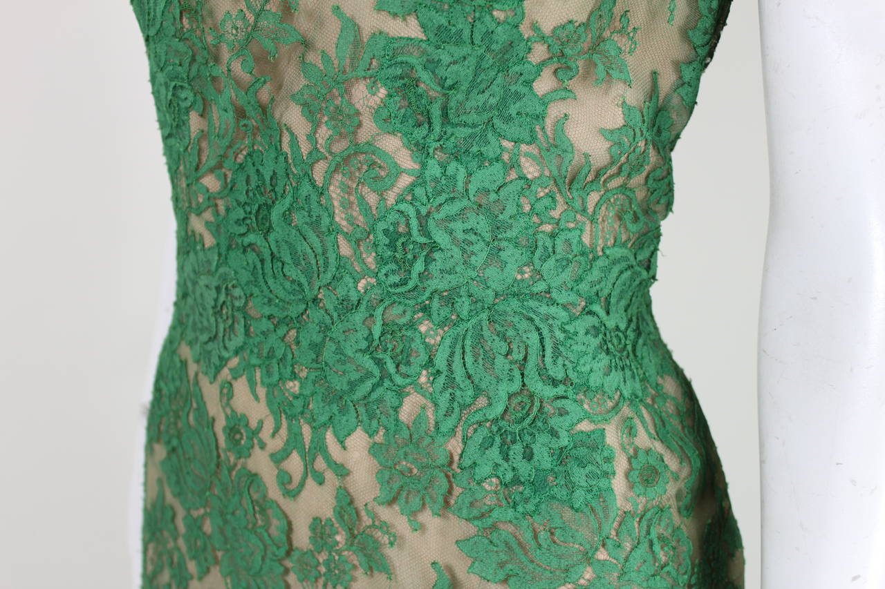 Peggy Hunt 1950s Green Lace Illusion Dress 5