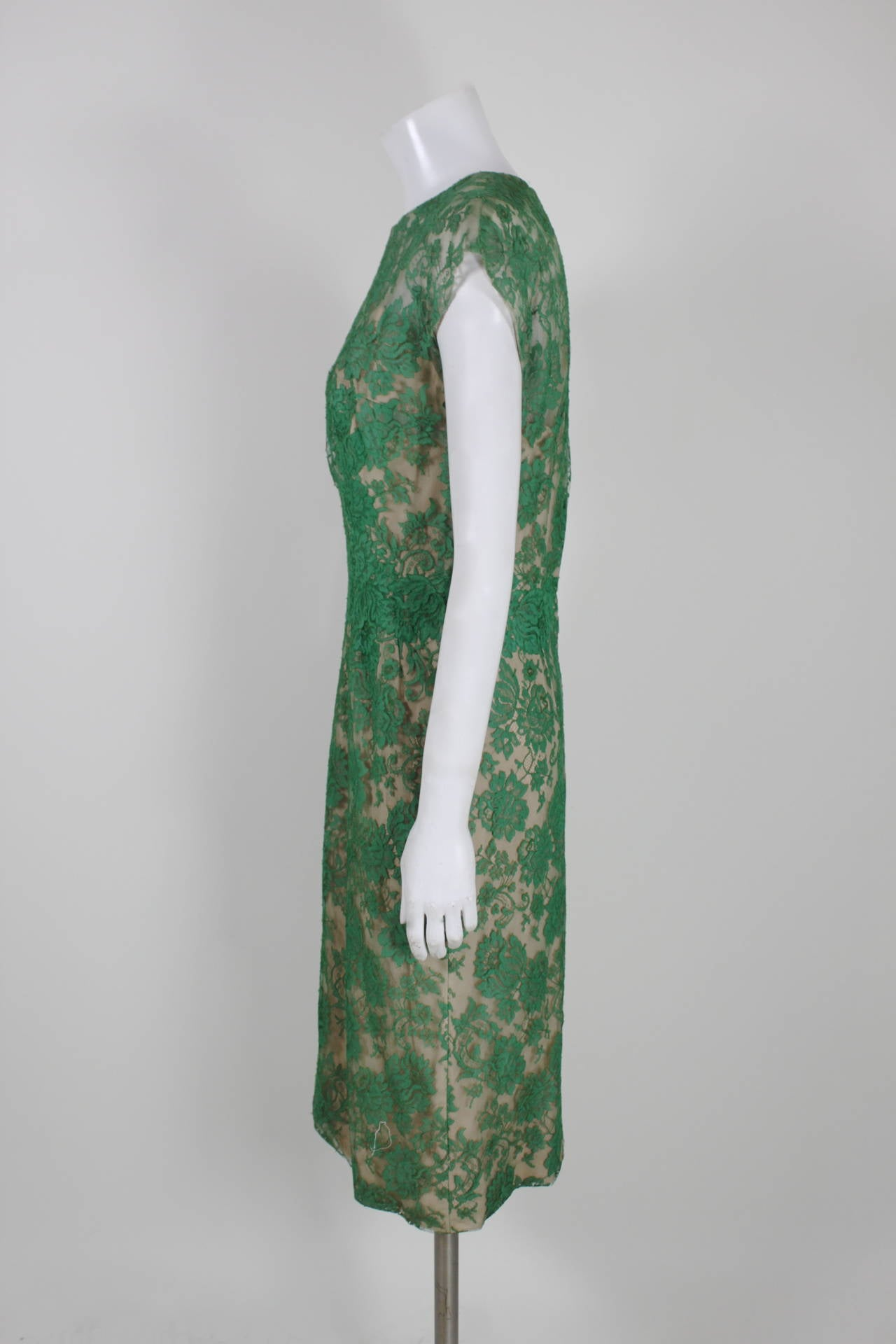 Peggy Hunt 1950s Green Lace Illusion Dress 6