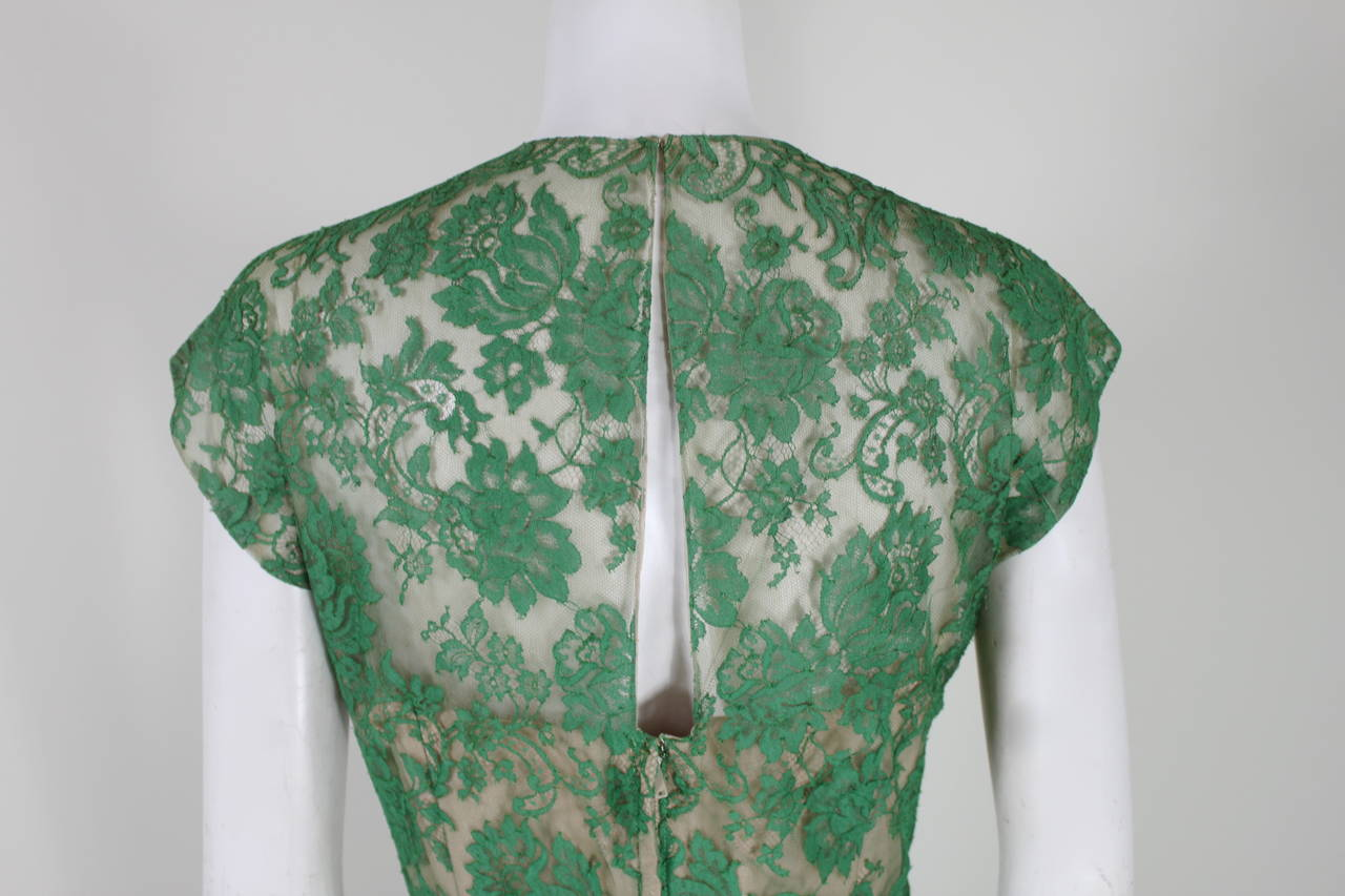 Peggy Hunt 1950s Green Lace Illusion Dress 8