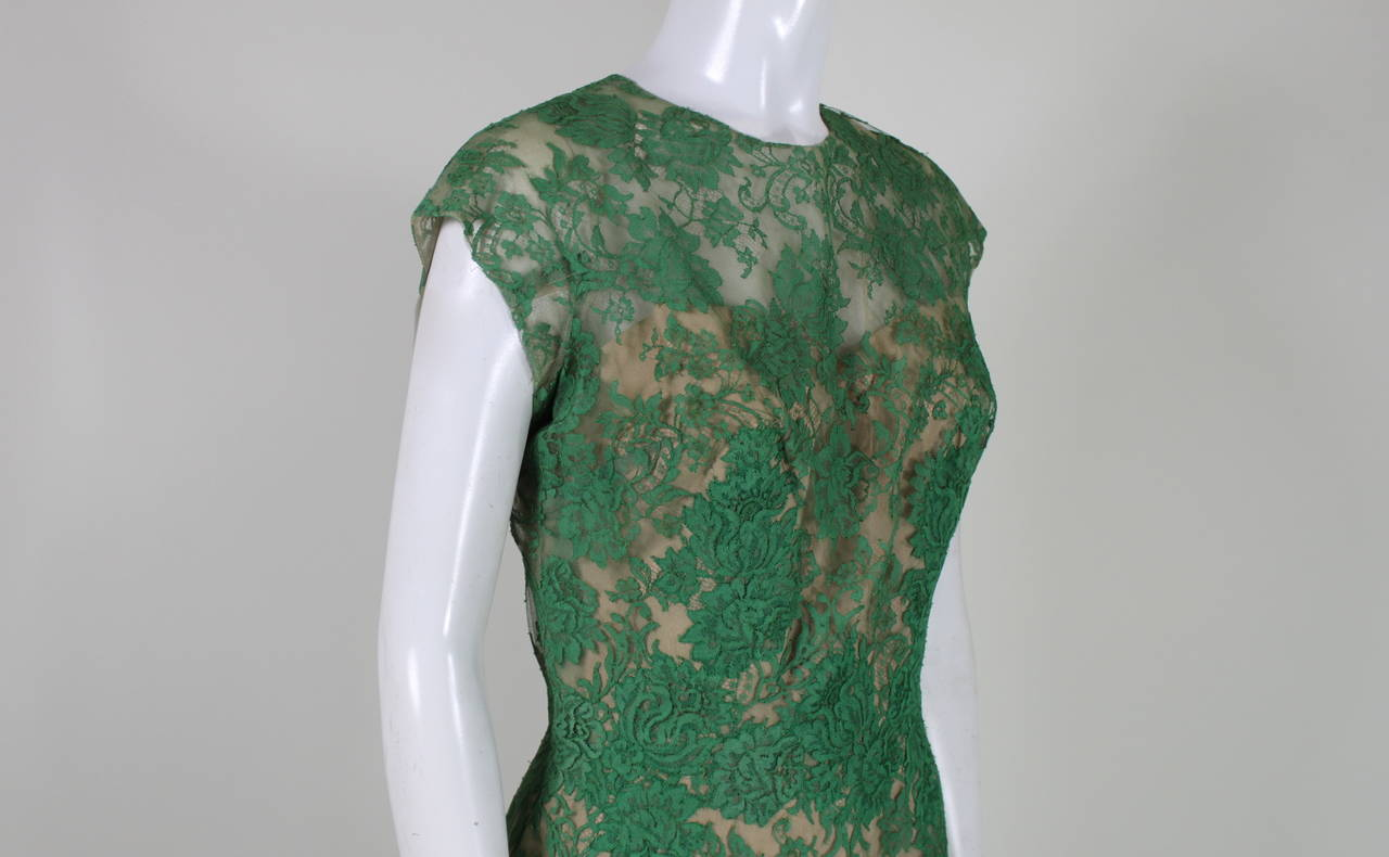 Peggy Hunt 1950s Green Lace Illusion Dress 9