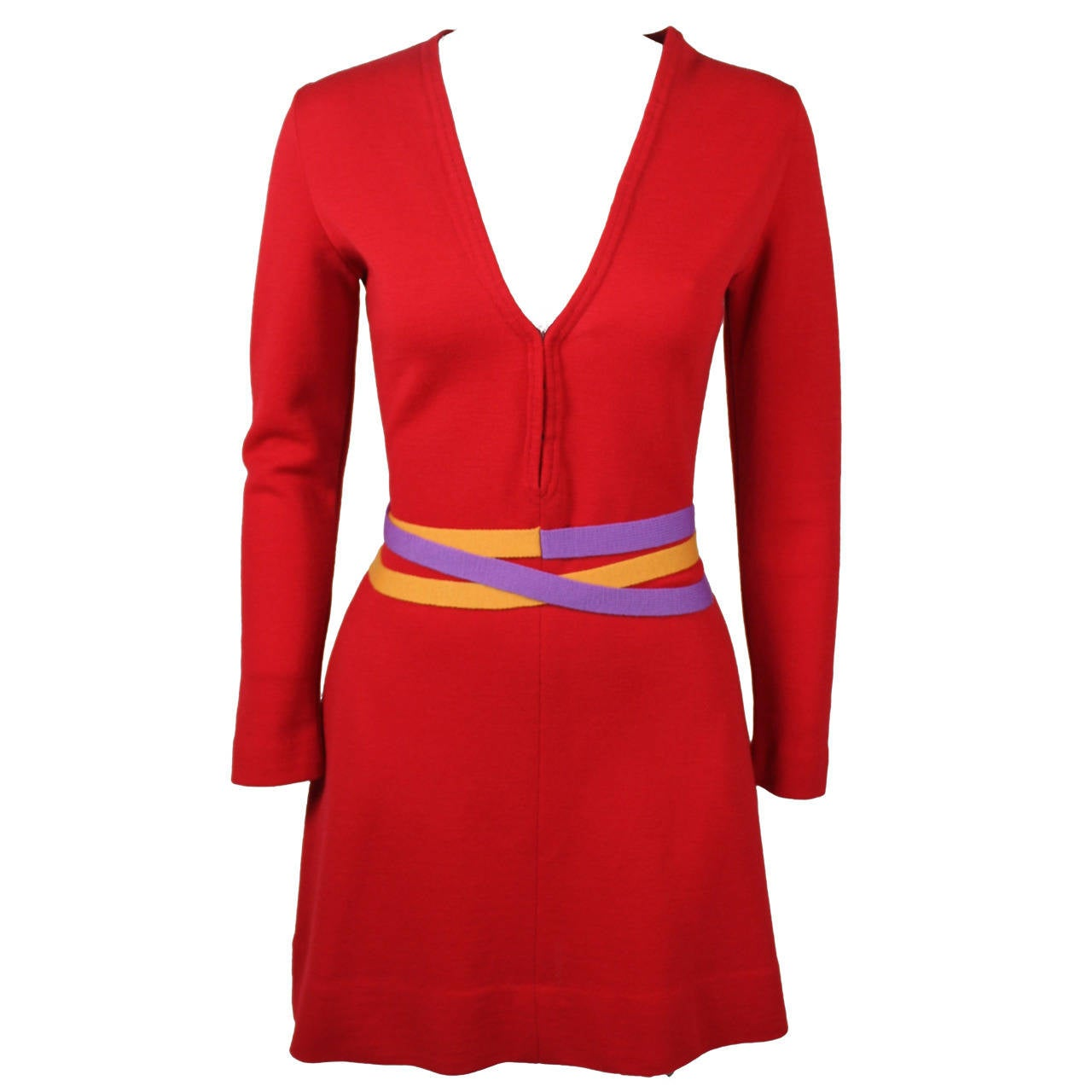 Rudi Gernreich 1960s Vibrant Red Wool Mini Dress with Purple and Yellow Belt 1