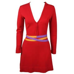 Rudi Gernreich 1960s Vibrant Red Wool Mini Dress with Purple and Yellow Belt