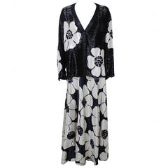 1980s Galanos Monochrome Beaded Silk Floral Ensemble
