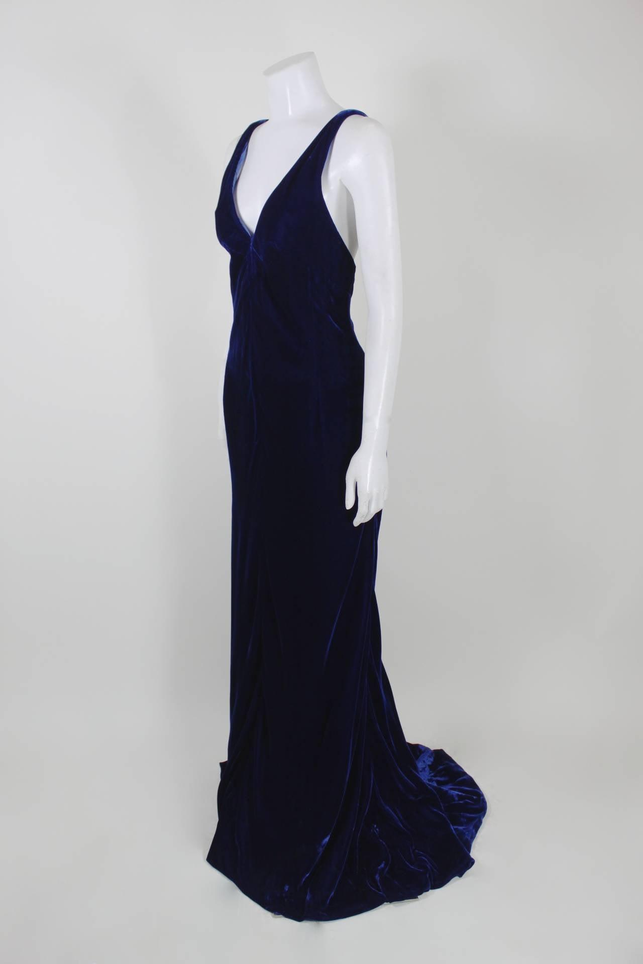 Women's Jacqueline De Ribes Stunning Midnight Blue Velvet Evening Gown For Sale