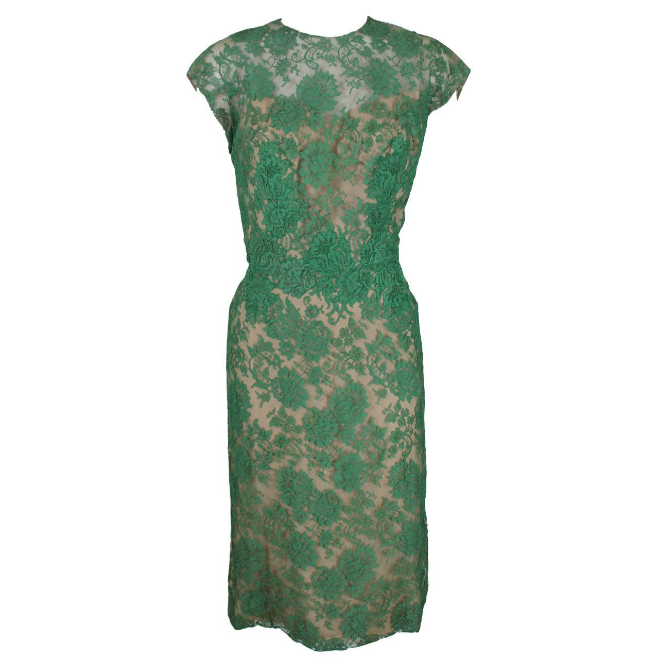 Peggy Hunt 1950s Green Lace Illusion Dress 1
