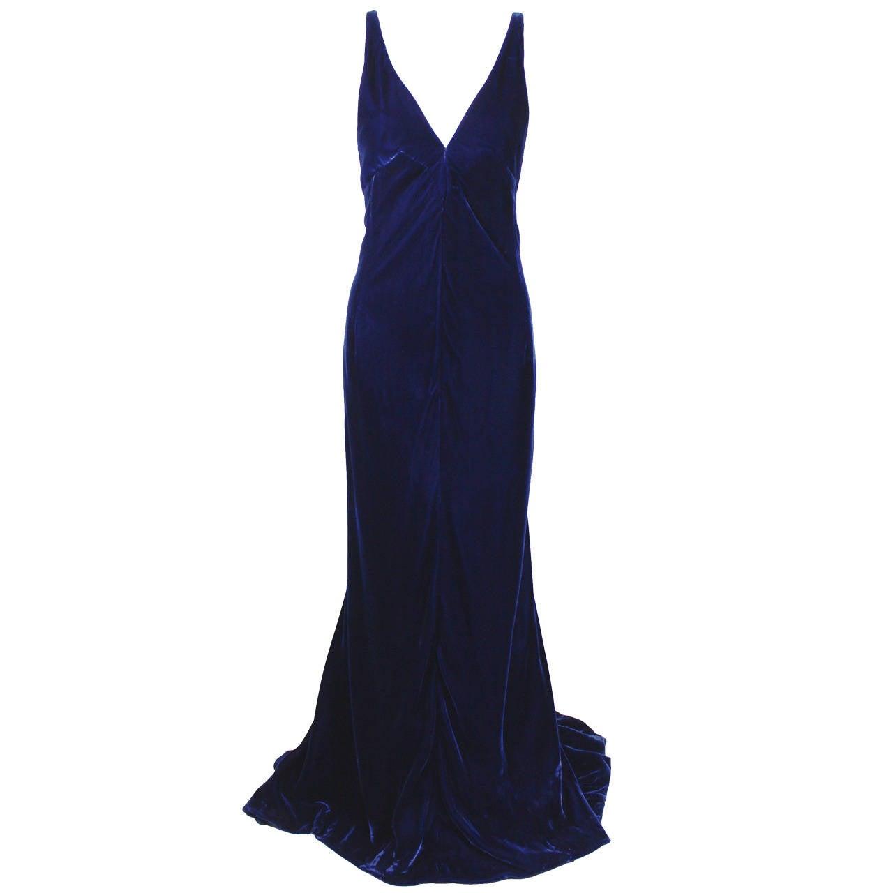 Jacqueline De Ribes Stunning Midnight Blue Velvet Evening Gown For Sale