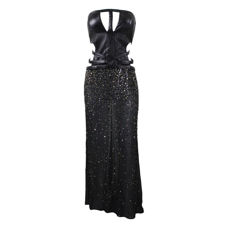 Black dress versace - Gianni Versace Black Leather Rhinestone And Chiffon Evening Gown 1