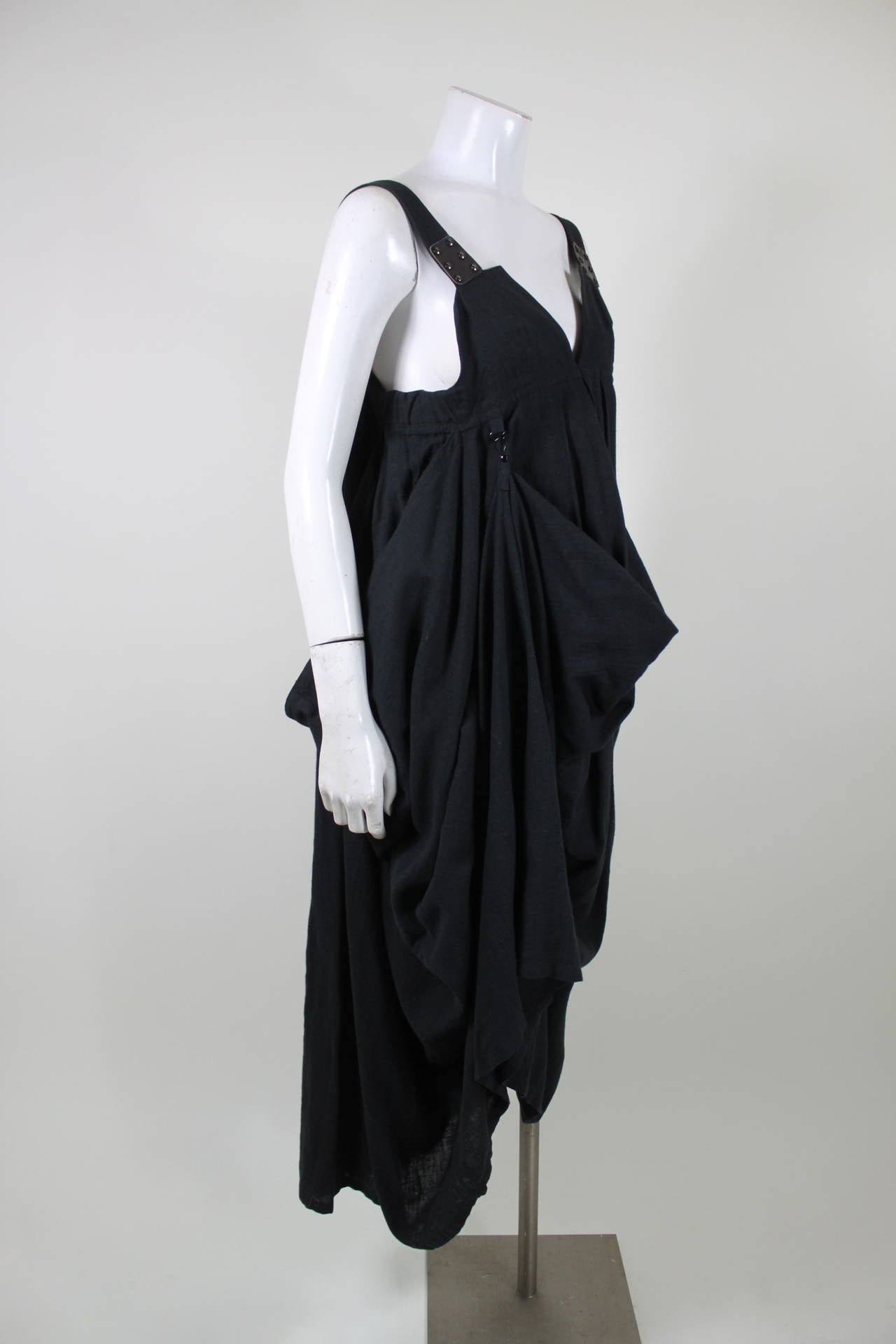 Kansai Black Linen Dress with Cocoon Coat 2