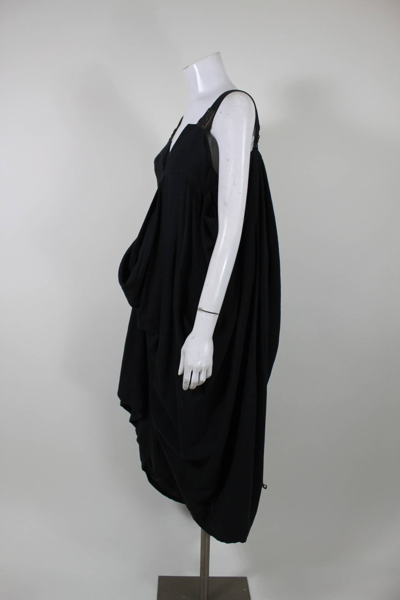 Kansai Black Linen Dress with Cocoon Coat 3