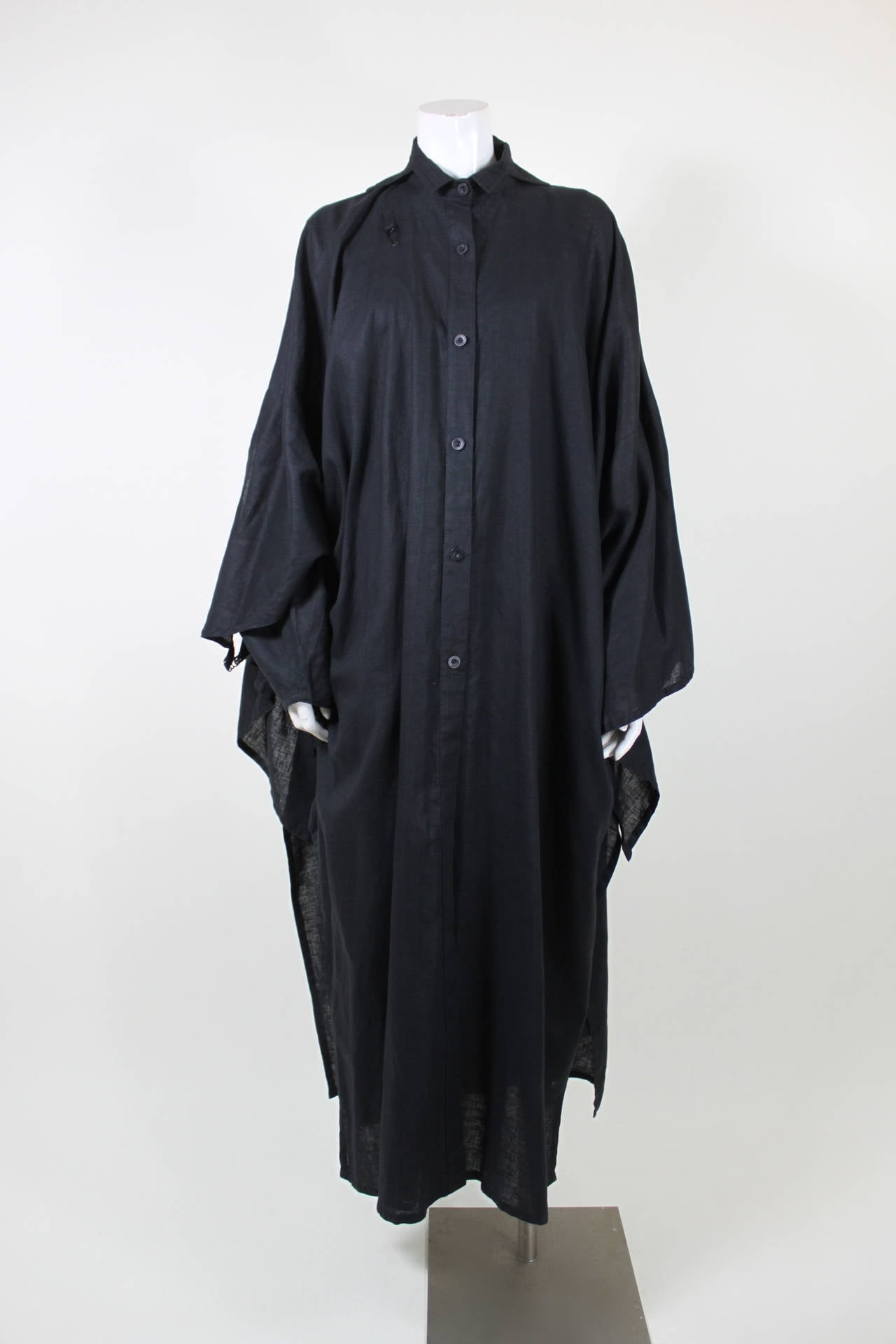 Kansai Black Linen Dress with Cocoon Coat 6
