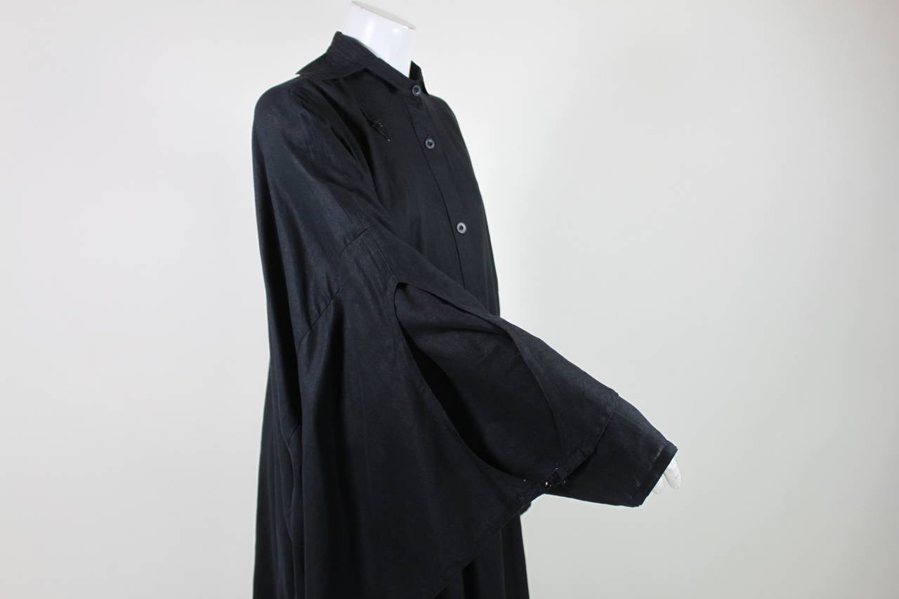 Kansai Black Linen Dress with Cocoon Coat 7