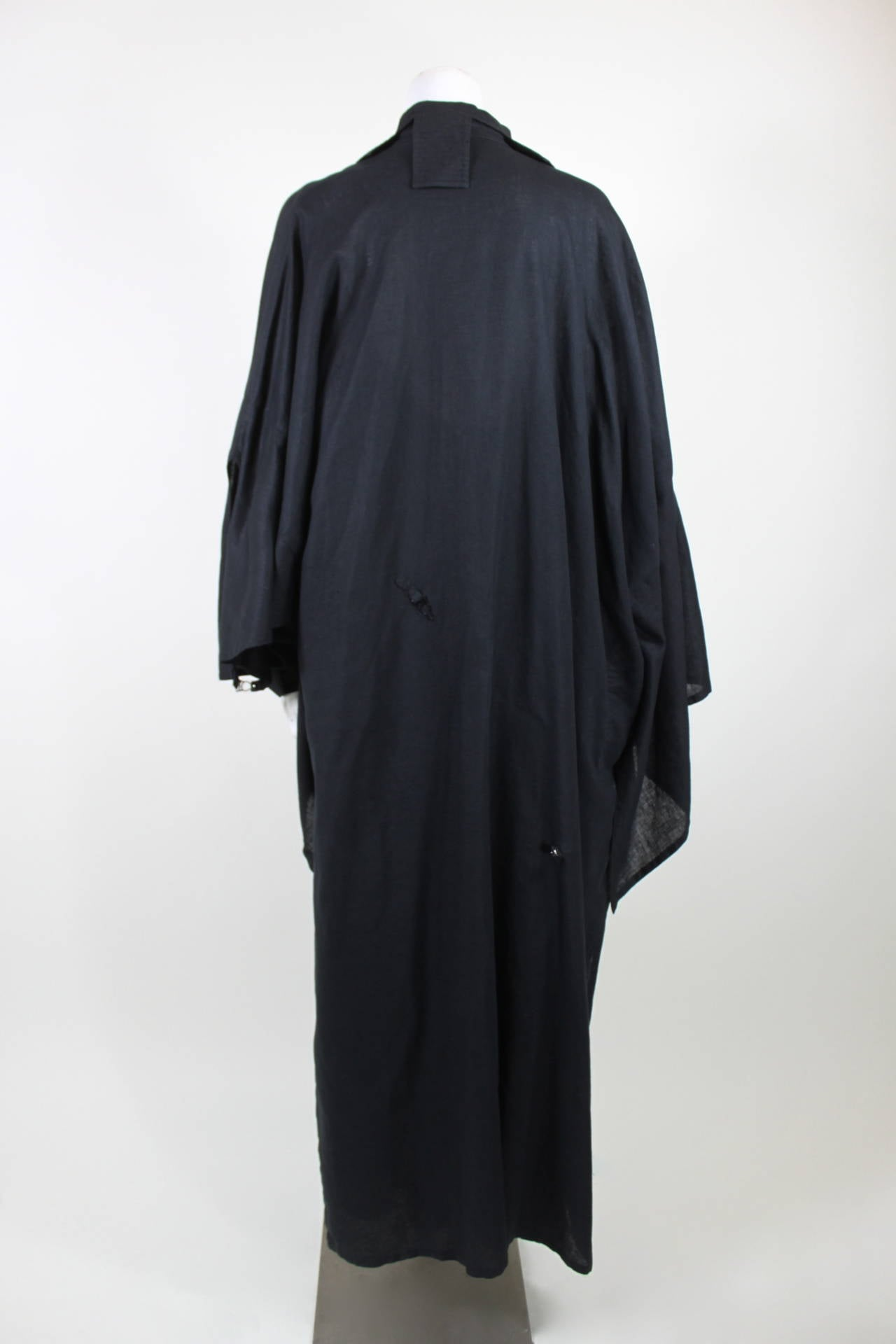 Kansai Black Linen Dress with Cocoon Coat 8