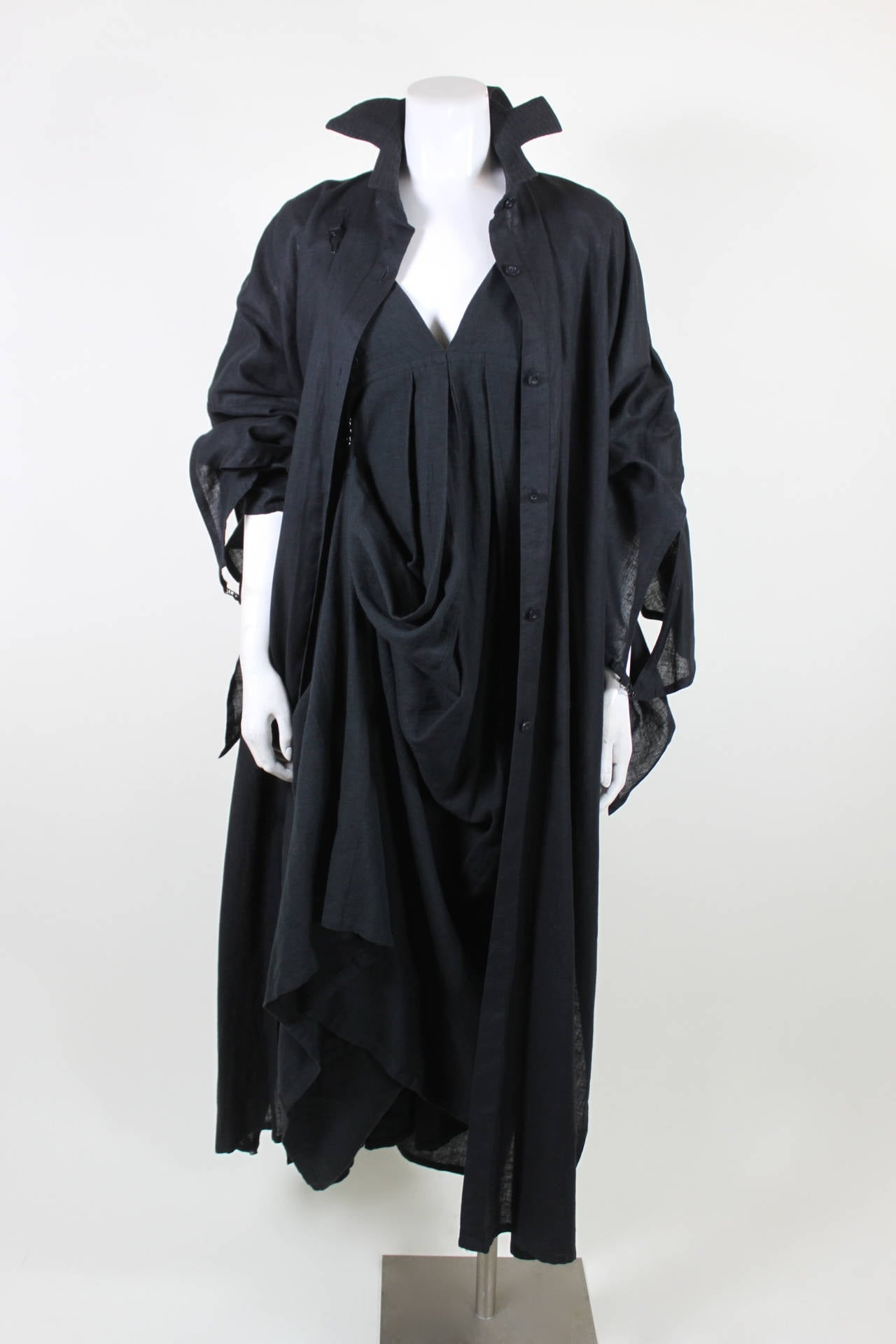 Kansai Black Linen Dress with Cocoon Coat 9