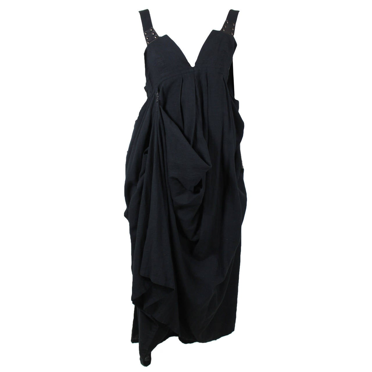 Kansai Black Linen Dress with Cocoon Coat 1