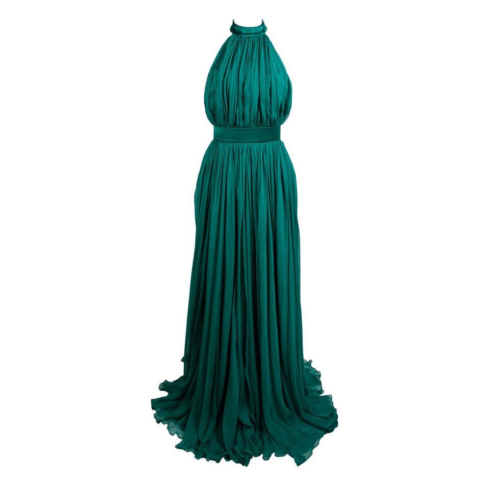 Alexander McQueen 2010 Flowing Emerald Green Chiffon Halter Gown with Belt 1