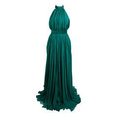 Alexander McQueen 2010 Flowing Emerald Green Chiffon Halter Gown with Belt